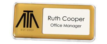 Reusable plastic name badges - Clear border and matt gold background | www.namebadgesinternational.co.uk